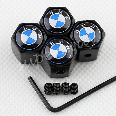 Dark Black Metal Car Dust Tyre Tire Antitheft Air Valve Cap For BMW Accessories