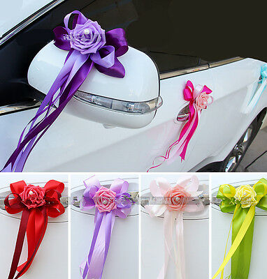 Wedding Car Decor- Multicolor sequin Roses Ribbon Limousine Door Side Mirror