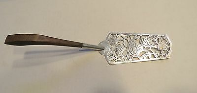Taxco Eagle 3 JS  Mexican Server - Flat Pierced Sterling Silver w Wood Handle