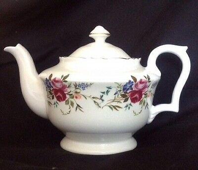 "Vintage Crown Staffordshire Fine Bone China Teapot Roses Clematis 5.25""T Ex Con"