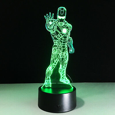 3D LED Iron man illusion Night 7 color change touch table light desk lamp light