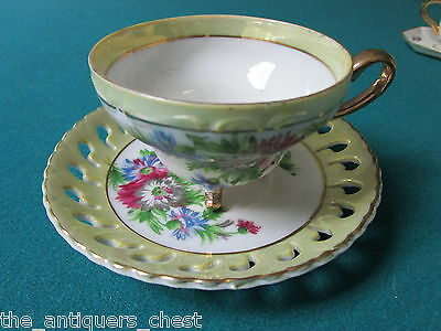 Napco Japan Lusterware footed cup and saucer, flower bouquet [*16]