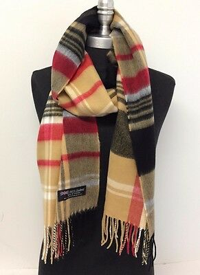 Men's LONG CASHMERE SCARF Check Plaid Scotland Soft Warm Wool Camel/Black/Red
