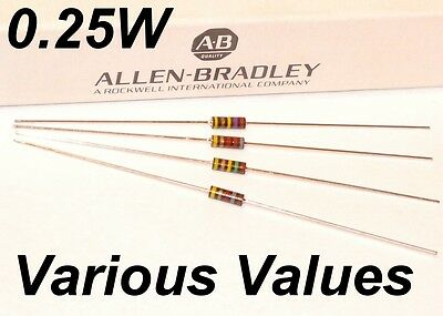 ALLEN BRADLEY 1/4W RCR07 resistor various values: 10R 100R 1K 10K 1M 10M other