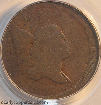 1797 C2 R3 Liberty Cap Half Cent Centered Head PCGS G6 Off-Center Mint Error!