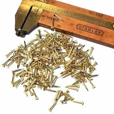 "250pcs #19 x 5/16"" 1x8mm Tiny Solid Brass Brads Escutcheon Pins Nails Fasteners"