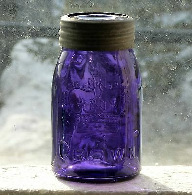 Antique small midget size CROWN purple fruit canning jar FREE SHIPPING!