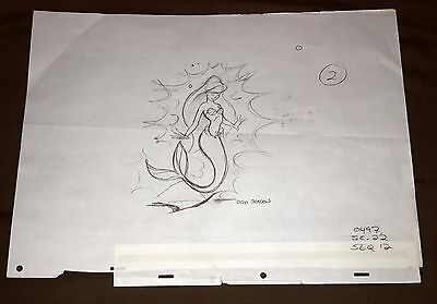 1989 Disney THE LITTLE MERMAID Movie Layout Drawing of ARIEL Final Sequence Cel