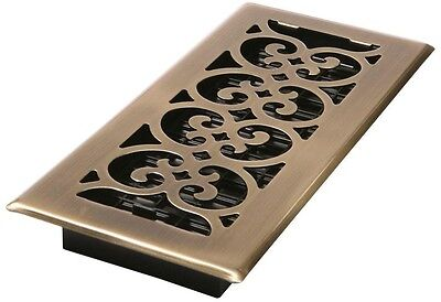4 in x  10 in Steel Floor Register Grate Vent Grill Antique Brass