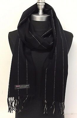 NEW Men/Women 100% CASHMERE SCARF Wrap SCOTLAND Striped Classic Soft Black/Beige