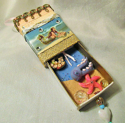 Mermaid Vintage Look Ornament filled with Sea Life gems matchbox treasures lot