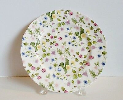 "Rosina Queens Country Meadow Dinner Plate 10-1/2"" Pink Lavender Yellow Flowers"