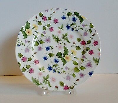 "Rosina Queens Country Meadow Salad Plate 8"" Pink Lavender Yellow Flowers EUC"