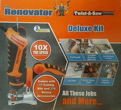 Twist-A-Saw Deluxe Kit The Renovator Hammer Drill Jigsaw Router Cut Tool*new*uk