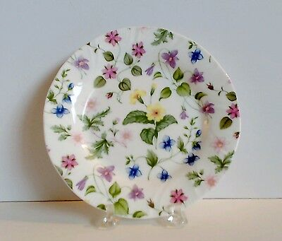 "Rosina Queens Country Meadow Bread & Butter Plate 6-1/4"" Pink Lavender Yellow"