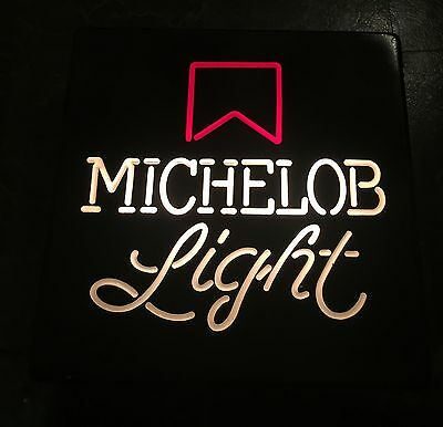 "Vintage Michelob Light 18x18"" Square Lighted Beer Sign - Excellent Condition"