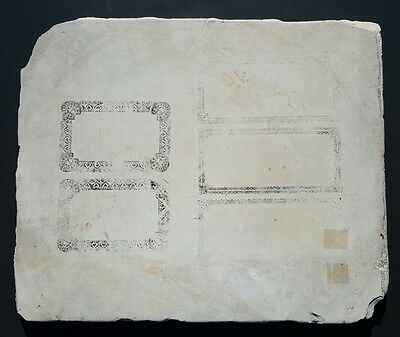 Antique Lithograph Stone Victorian American History Borders Printing White Stone