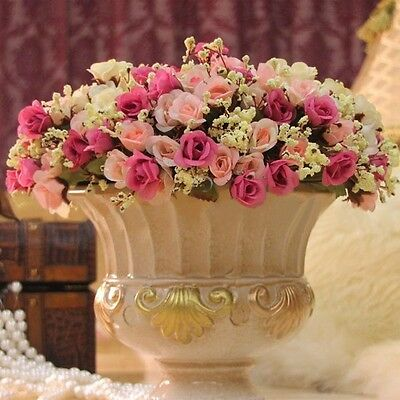 Artificial 15 Heads/Bouquet Rose Silk Fake Flower For Wedding Party Home Decor