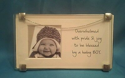 New Baby Boy Clip Photo Frame With Sentiment Inscription On Insert Sleeve