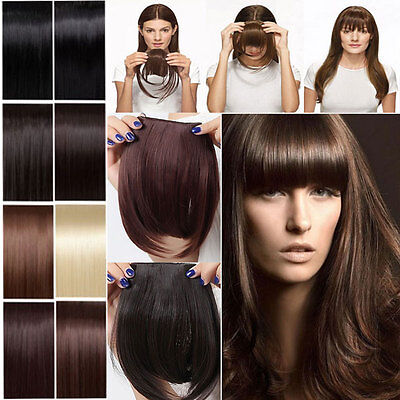 100% Real Natural Clip In Bangs Fringe Fake Front Neat Hair Extension Piece hg71