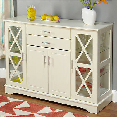 Country Style Kitchen Buffet Cabinet Counter Table Antique White Wood Furniture