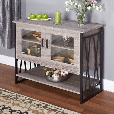 Rustic Style Buffet Storage Cabinet Table Reclaimed Grey Kitchen Furniture New