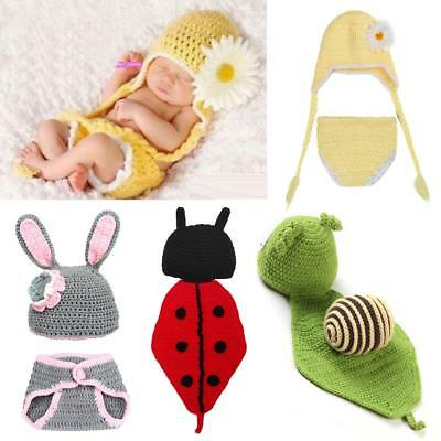 Baby Newborn Knit Crochet Beanie Hat Outfit Animal Photo Prop Costume Set