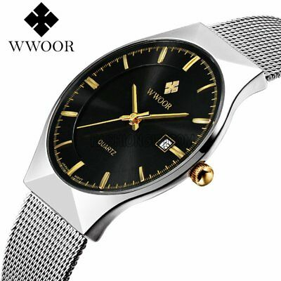 Ultra Thin Dial Stainless Steel Mesh Band Date Analog Quartz Men's Wrist Watch
