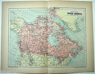 Original 1895 Map of British North America by  W & A.K. Johnston