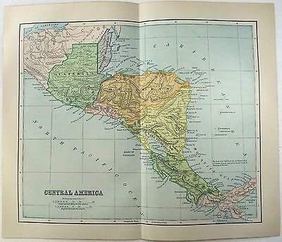 Original 1890 Map of Central America by Dodd Mead & Company