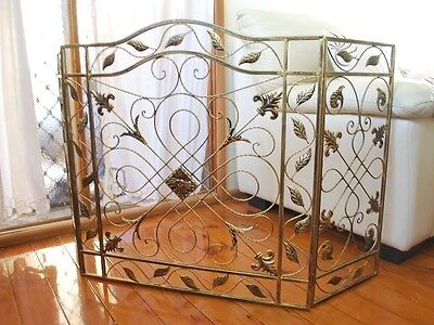 Hand Iron French Provincial Fireplace Guard NO MESH 003