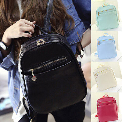 Women Girls Faux Leather Backpack Travel Handbag Rucksack Shoulder School Bags