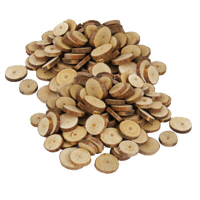 200pcs Vintage Pine Wood Tree Slices Disc Buttons Rustic Craft Wedding Decor