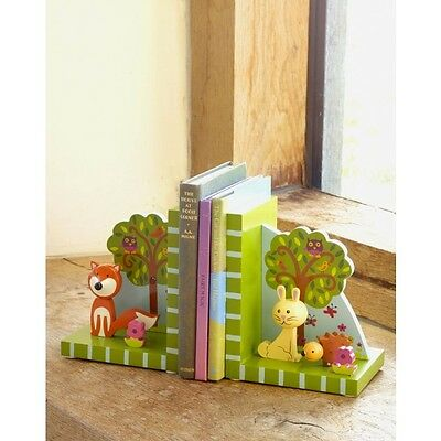 Orange tree toys wooden bookends christening new baby gift nursery woodland