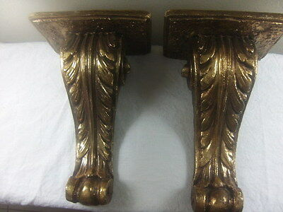 Vintage Sconce Italian Florentine Gold Scroll Wood Wall Set Of  2
