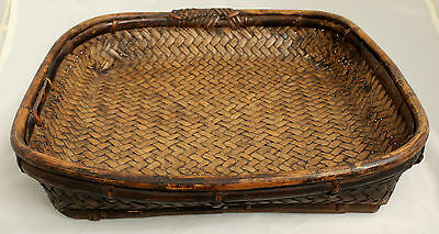 Chinese Qing Dynasty Woven Square Form Bamboo Basket