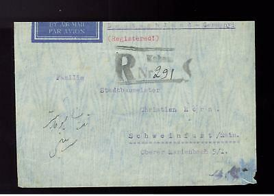 1939 Afghanistan Airmail Register Cover to Nazi Germany