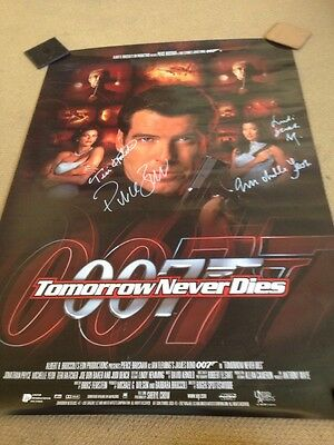 James Bond Tomorrow Never Dies Autographed Movie Poster Inc Pierce Brosnan