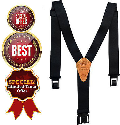 "Black 1.5"" Wide Dickies Mens Perry Suspender Heavy Duty Plastic Clip Support"