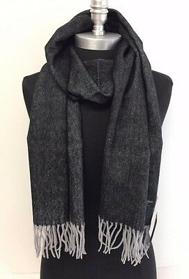 Men's 100% Cashmere Scarf Black/gray HerringBone Tweed Plaid Wrap SCOTLAND Soft
