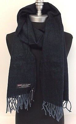 NEW Men's 100% Cashmere Scarf Black/Blue HerringBone Tweed SCOTLAND Soft Wrap