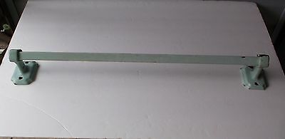 "Vtg Shabby Chic Mint Green Enamel Cast Iron Towel Bar 24"" Long"