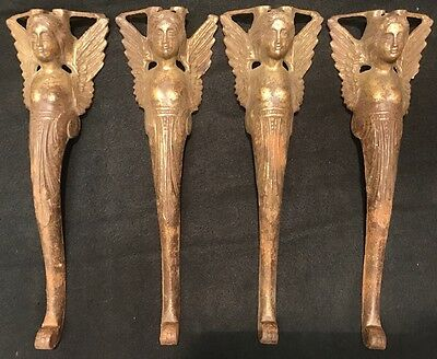 Antique Early 1900s Ornate Victorian Cast Iron Cherub Caryatids Table Legs RARE