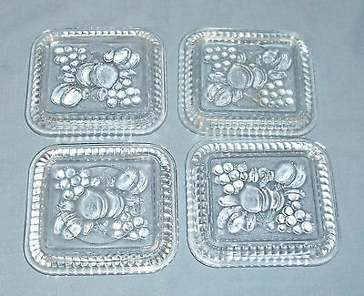 Vintage Set of 4 Federal Clear Glass Fridge Dish Replacement Lids Fruit Design