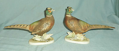 Vintage Pair of Lefton Porcelain Ringneck Rooster Pheasant Figurines KW769