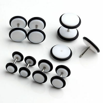 White Fake Plug Earring Stud Tunnel Ear Stretcher  4Mm To 10Mm Single / Pair Uk