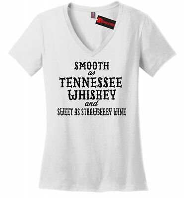 Smooth As Tennessee Whiskey Ladies V-Neck T Shirt Funny Country Party Tee Z5