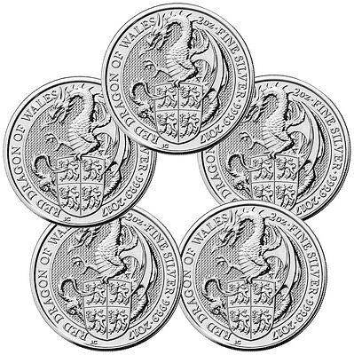 Lot of 5 - 2017 Great Britain 2 oz Silver Queen's Beasts The Dragon £5 SKU46055