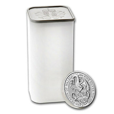 Roll of 10 2017 Great Britain 2 oz Silver Queen's Beasts The Dragon £5 SKU46056