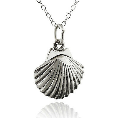 Clam Shell Necklace - 925 Sterling Silver - Charm Beach Ocean Sand Seashell NEW